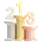 Winner pedestal: golden, bronze, silver pillars Royalty Free Stock Photography