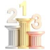 Winner pedestal: golden, bronze, silver pillars Royalty Free Stock Photography