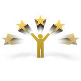 Winner. Person with arms up and stars Stock Photos