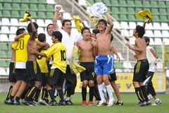 Winner peruvian soccer players Royalty Free Stock Photo