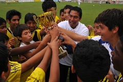 Winner peruvian soccer players Royalty Free Stock Image