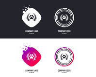 Winner pets laurel wreath sign icon. Vector. Logotype concept. Winner pets laurel wreath sign icon. Dog paw symbol. Logo design. Colorful buttons with icons royalty free illustration