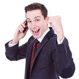 Winner on the phone Stock Photography