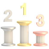 Winner pillars: first, second, third places Stock Photo