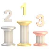 Winner pillars: first, second, third places Stock Photo