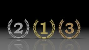 Winner places on black background surrounded with olive branch Royalty Free Stock Image