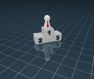 Winner. Play figure with tie and winner podium on blue squared surface - 3d illustration Stock Photo