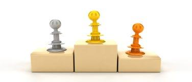 Winner podium. Three pawns standing on winner podium. Illustration is isolated on white background vector illustration