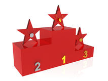 Winner podium. Stars (peoples) with gold, silver and bronze medals on award podium Stock Images