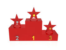 Winner podium. Stars (peoples) with gold, silver and bronze medals on award podium Royalty Free Stock Photography