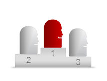 Winner on podium. Abstract illustration of faces on sporting podium with winner in red, isolated on white background Stock Illustration