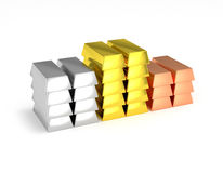 Gold copper silver bars stacked Stock Image