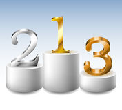 Winner podium with gold, silver and bronze numbers. White round Winner podium with gold, silver and bronze 3d numbers Royalty Free Stock Image