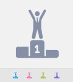 Winner On Podium - Granite Icons Royalty Free Stock Photo