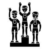 Winner podium sport team - first place - olympics icon, vector illustration, black sign on isolated background. Winner podium sport team - first place - olympics Stock Photos