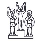 Winner podium, sport team,first place,olympics vector line icon, sign, illustration on background, editable strokes. Winner podium, sport team,first place Stock Images