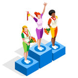 Winner Podium 2016 Sports 3D Isometric Vector Illustration Royalty Free Stock Image