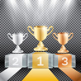 Winner Podium with Spotlights and Cup on Transparent Background. Royalty Free Stock Image