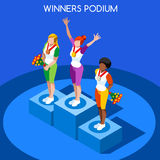 Olympics and Paralympics Brasil Rio 2016 Winner Podium Summer Games Flat 3D Vector Illustration. Olympics and Paralympics Game Rio Brasil 2016 Winner Podium royalty free illustration