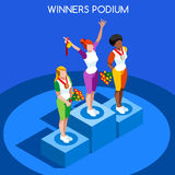 Winner Podium Summer Games Icon Set.Speed Concept.3D Isometric Athlete.Sporting Competition Stock Image