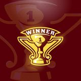 Winner Prize Cup Emblem. Vector Sport Trophy Sign, Symbol or Logo Template. Dark Red Background Stock Photo