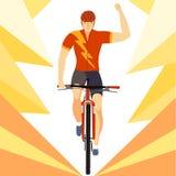 Winner racing mountain cyclist Royalty Free Stock Photo