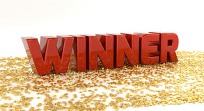 Winner - Red text on gold stars - High quality 3D Render. Jackpot Stock Photos