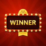 Winner retro banner with glowing lamps Royalty Free Stock Photo
