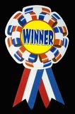 Winner ribbon - with clipping path. A large red white and blue ribbon to pin on a winner vector illustration