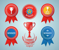 Winner ribbons and badges. Set of various competition related elements. EPS10 Stock Photos