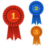 Winner Rosette Set with Ribbons. Royalty Free Stock Photography