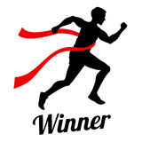 Winner runner crossing finish line, sports champion vector concept Stock Photo