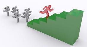 Winner running ahead. One Runner Pulls Ahead - Green steps Royalty Free Stock Image