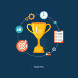 Winner's award with icons. Royalty Free Stock Image