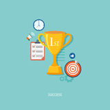 Winner's award with icons. Royalty Free Stock Photography