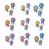 Winner`s award set of gold, silver and bronze medals icon vector Stock Photos