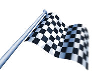 Winner's chequered flag. Isolated chequered flag flying for the winner Royalty Free Stock Photos