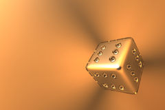Winner's dice 3. A bright reflecting dice (simulating a metal covered with glass), showing 6 points at all sides. Metaphorical for 'success', 'all time winner' Stock Images