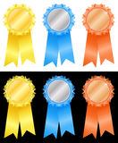 Winner;s rosettes-5. Winner's rosettes on white and black backgrounds Stock Photography
