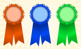 Winner's rosettes1. Winner's rosettes on light background Royalty Free Stock Photography