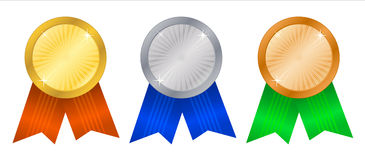 Winner's rosettes4. Winner's rosettes on white background Stock Photography