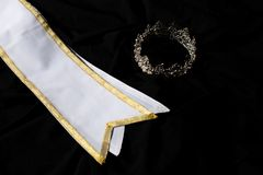Winner Sash for Miss Pageant Beauty Contest. White Gold Winner Sash for Miss Pageant Beauty Contest, empty area for text winner country word, studio lighting stock images