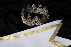 Winner Sash for Miss Pageant Beauty Contest. White Gold Winner Sash for Miss Pageant Beauty Contest, empty area for text winner country word, studio lighting royalty free stock photography