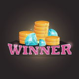 Winner screen vector background with coins and diamonds. vector illustration