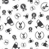 Winner seamless pattern. Vector illustration. Medal symbol, winner cup, champion reward emblem Stock Image