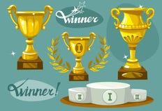 Winner set. Winner vector set. Podium, winners cup laurel wreath Stock Photos
