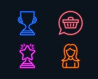 Winner, Shopping cart and Award cup icons. Woman sign. Best star, Dreaming of gift, Trophy. Girl profile. Neon lights. Set of Winner, Shopping cart and Award Royalty Free Stock Photos