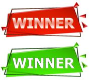 Winner sign. Winner modern 3d sign isolated on white background,color red and green Stock Images