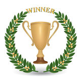 Winner sign, symbol. Winner cup with laurel wreath and copy space on golden ribbon Stock Images