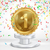 Winner 1st Place Vector. Competition Game Golden Achievement. Winner Trophy Award Illustration. Pedestal. Number One Concept Vector. Metal Realistic First Stock Images
